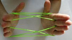Leuke figuren maken met een touwtje. Kop-en-schotel, parachute, haarnetje en nog veel meer...