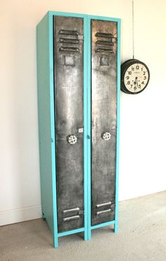 1950's two door French Vintage Industrial storage lockers highly polished steel  with Upcycled cream faucet handles stylish storage