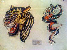 Bert Grimm's Traditional Flash Art ‹ Tattoo Los Angeles – Traditional Tattoos – Alchemy Tattoo Silver Lake on Sunset Blvd Traditional Tiger Tattoo, Traditional Tattoo Flowers, Traditional Tattoo Old School, Traditional Tattoo Design, Tattoo Flash Sheet, Tattoo Flash Art, Dragon Tattoo Flash, Dragon Tattoos, Halloween Tattoo Flash