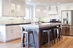 White cabinet and dark island Kitchen Remodel, House Design, Cabinet, Furniture, Loft Style Living, Kitchen, Interior Design, Home Decor, White Cabinets