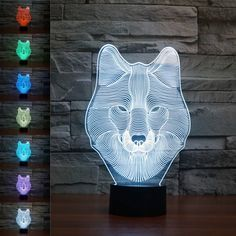 Lights & Lighting Cracked Base Wolf Head Christmas Decorative Lights Horse 7 Color Change Table Moderne Desk Lamp Decoration 3d Night Light Do You Want To Buy Some Chinese Native Produce?