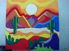 Mexican Paintings, Desert Art, Southwest Art, Cactus Art, Diy Canvas Art, Mexican Art, Dot Painting, Rock Art, Art Lessons