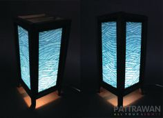 Blue Waves Table Lamp  Wood frames & Mulberry paper by Pattrawan, $15.00