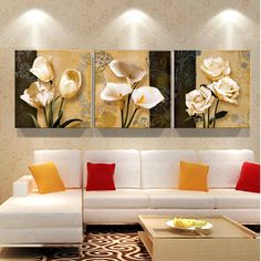 3 free shipping cheap brown orchid Modern Art Deco mural painting the living room wall paintings in print pictures on canvas