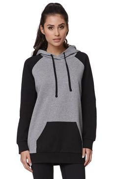 "The women's Long Sleeve Pullover Hoodie has two-toned coloring and soft fabric. We love the casual feel of this hoodie paired with our joggers or denim!	27"" length	25"" sleeve length	Measured from a size small	Model is 5'9"" and wearing a small	80% cotton, 20% polyester	Machine washable	Imported"