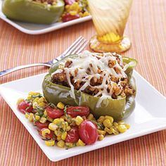 Stuffed Peppers | MyRecipes.com.. i stuff mine with ground turkey or fried tuna or salmon with pepper medley mix then bake