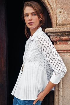 Eyelet Empire Blouse - anthropologie.com ~ no longer available (2016)