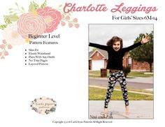 Charlotte Girls Leggings PDF Pattern sizes 12 months to 8.