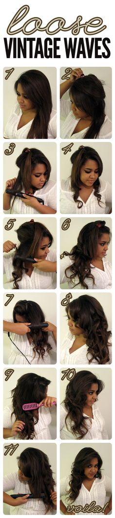 loose vintage waves-how to Curly Hair Braids, Loose Braids, Messy Hairstyles, Pretty Hairstyles, Wedding Hairstyles, Vintage Waves, How To Style Bangs, Hair Dos, Gorgeous Hair