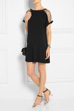 REDVALENTINO Point d'esprit and crepe mini dress