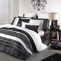 Carrera Black White Double Bed Quilt Doona Cover Set Logan And Mason