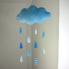 Rain Cloud decorative baby mobile by alelale on Etsy, $28.00