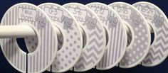 6 Custom Baby Closet Clothes Dividers Organizers in Grey White Elephants Chevrons Dots Stripes Boy Girl Baby Shower Nursery Gift