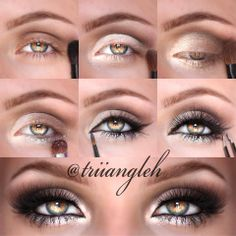 Triiangleh's Makeup PICTORIAL using all Motives by Loren Ridinger: 1. Darken your crease using a fluffy blending brush and the shade Vino. 2. Apply Pearl all over your lid. 3. Cover 2/3 of your lid with Cappucino. 4. Apply the Glitter Adhesive  the glitter Celebrate on your lower lash line. 5. Line your lids cat eye like. 6. Apply @House of Lashes Pixie Luxe to finish this look