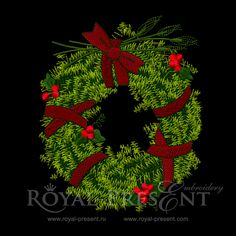 Machine Embroidery Design Christmas Wreath