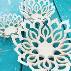 Mandala Nesting Bowls : White ceramic bowl by QuigleyCeramics