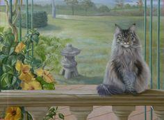 Dettaglio di un trompe l'oeil eseguito su parete, con ritratto di gatto. A detail from a trompe l'oeil mural with a cat portrait, made on a wall.
