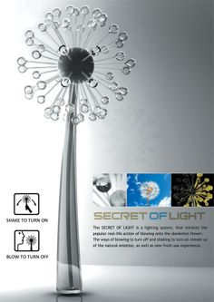 Shake the lamp to light it up, blow on it to make the lights turn off like a dandelion! So cool!
