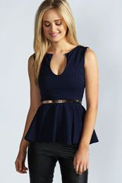 Claire Notch Neck Belted Peplum Top --- Love the neck, not to fond of the peplum though