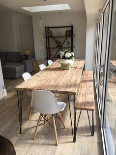 Rustic Industrial Hairpin Dining Table and Bench.- Rustic Industrial Hairpin Dining Table and Bench. Finished in Antique Pine. Avai Rustic Industrial Hairpin Dining Table and Bench. Finished in Antique Pine. Dining Room Design, Dining Room Bench, Industrial Dining, Dining Room Industrial, Rustic Dining Room, Diy Dining Room Table, Hairpin Dining Table, Farmhouse Dining Table, Dining Room Lighting