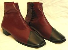 Ladys 1860s oxblood / burgundy side lace boots - repro