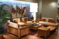 Wooden sofa set designs for small living room with hanging light fixtures