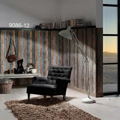 I LOVE the realistic look of this dark stained rustic wood wallpaper used on the bottom part of the wall. Very rustics yet sexy.