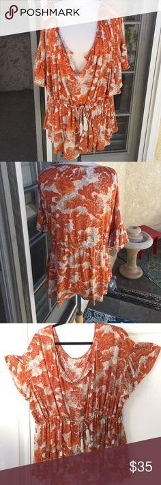 Free People top Boho top with bell sleeves. Drawstring waist,orange,beige, grey. Barely worn, looks new. Free People Tops