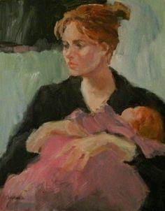 Mother and Child II - original oil portrait painting, original ...