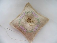 Ring Bearer Pillow Hand Embroidered Burlap by MelindasSewingCorner