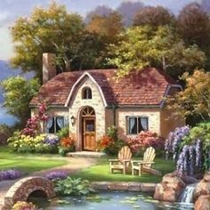 Cute Cottage, Cottage Art, Cottage In The Woods, Fantasy Art Landscapes, Beautiful Landscapes, Beautiful Gardens, Watercolor Landscape, Landscape Paintings, Waterfall Paintings