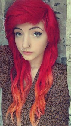 red to orange ombre hair