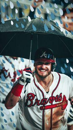 Josh Donaldson celebrates hitting a home run in the dugout with an umbrella. Braves Baseball, Baseball Players, Baseball Stuff, Josh Donaldson, Nba Wallpapers, Brave Girl, Basketball Art, Atlanta Braves, Sport Man