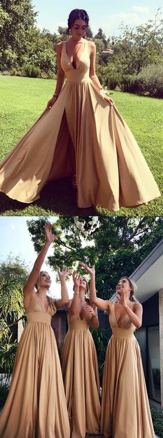 Long Bridesmaid Dresses A-line, Champagne Bridesmaid Dresses V-neck, Silk-like Satin Bridesmaid Dresses with Slit, Sexy Bridesmaid Dresses Sleeveless Classy Prom Dresses, Prom Dresses For Teens, Lace Evening Dresses, Cheap Prom Dresses, Classy Dress, Nice Dresses, Special Dresses, Champagne Bridesmaid Dresses, Modest Bridesmaid Dresses