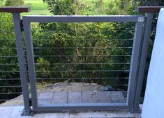 Easy Garden Landscaping Gates for stainless steel cable railings. Custom stainless steel cable gates and modern fencing. Deck Gate, Deck Railings, Porch Gate, Garden Doors, Garden Gates, Pool Gates, Cable Fencing, Fence Around Pool, Stainless Steel Cable Railing