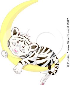Royalty-Free (RF) Clipart Illustration of a Cute Baby Tiger Sleeping On A Crescent Moon by Pushkin