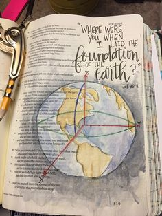 Job 38:4. Bible art journaling by @patjournals