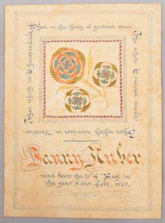 Pennsylvania Hand Drawn and Colored Birth Record Fraktur Dated 1829