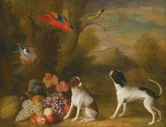 Jakob Bogdany Landscape with Dogs and Exotic Birds century Exotic Birds, Exotic Pets, Dog Paintings, Landscape Paintings, Pet Wolf, Dog Artist, Virtual Art, Vintage Art Prints, Beautiful Paintings