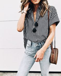 Gingham button down.