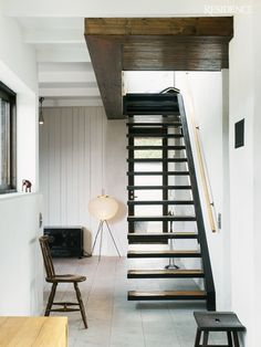 Simple Staircase -- Not just simple and cool, but by giving up that one side you can fit this type of solution into tighter areas.  Several wins right there