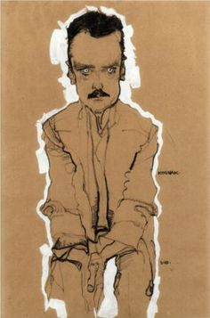 Portrait of Eduard Kosmack, Frontal, with Clasped Hands - Egon Schiele