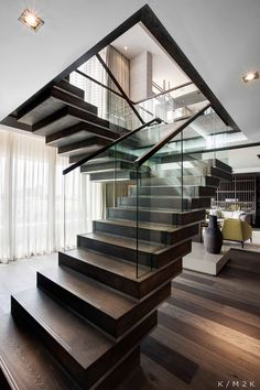Floating wood staircase.
