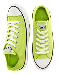 Converse Chuck Taylors High in Lime Converse All Star, Converse Chuck Taylor, Converse Sneakers, Neon Converse, Yellow Converse, Vans, Adidas Shoes, Chuck Taylors, Shoe Boots