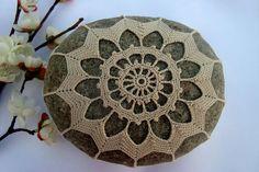 Crocheted Lace Stone, Ecru Cotton Thread, Cobblestone, Handmade, Tiny Stitches,. $59.00, via Etsy.