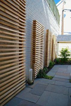 Exterior Design, Cool Wooden Contemporary Landscape Garden Screening Ideas With Gray Bricks Wall Color Also Modern Stones Flooring Design Al. Backyard Fences, Backyard Landscaping, Garden Fencing, Backyard Privacy, Concrete Backyard, Concrete Fence, Pergola Diy, Pergola Ideas, Terrace Ideas