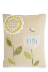 Bee Happy Print And Embroidered Cushion