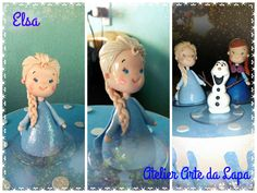 Topo de Bolo Frozen Elsa em Biscuit #AtelierArtedaLapa #TopoFrozenElsa