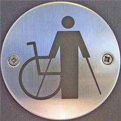Disability and the international symbol of such shows here with a wheelchair but with a standing (with aids) person, which can lessen the misunderstanding that all disabilities require the loss of ones legs.