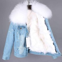 Mao Mao Kong Brand Women Genuine Fox Fur Lining Denim Jacket Coat Parkas Large Raccoon Fur Collar Winter - Style and More - All kinds of trendy ideas Girls Denim Jacket, Denim Coat, Denim Jacket With Fur, Fur Collar Jacket, Winter Mode Outfits, Winter Fashion Outfits, Cute Casual Outfits, Stylish Outfits, Teen Fashion